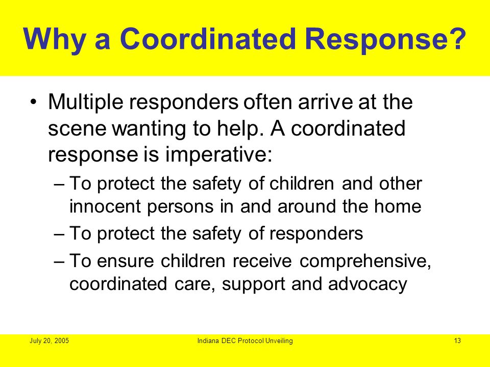Why a Coordinated Response