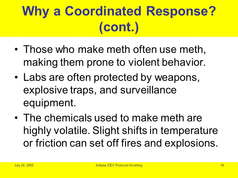 Why a Coordinated Response (cont.)