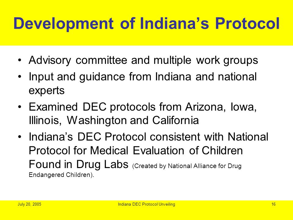 Development of Indiana's Protocol