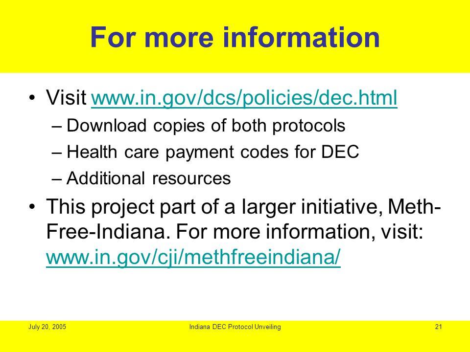Indiana DEC Protocol Unveiling