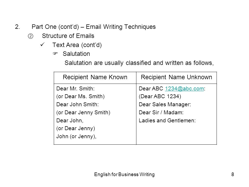 English for business writing ppt download part one contd email writing techniques structure of emails altavistaventures