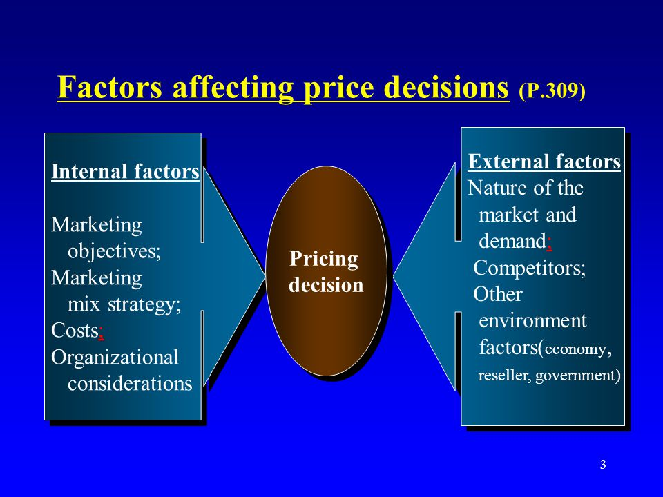 external factors affecting pricing decision Those factors which have a significant impact on pricing decisions but are not completely controllable by the company are known as external factors since these are very important to the pricing method, a company can exert some control by conducting detailed analyses to understand in depth how these factors will behave.