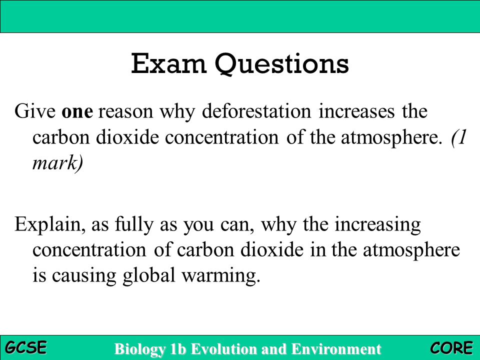 Exam Questions Give one reason why deforestation increases the carbon dioxide concentration of the atmosphere. (1 mark)