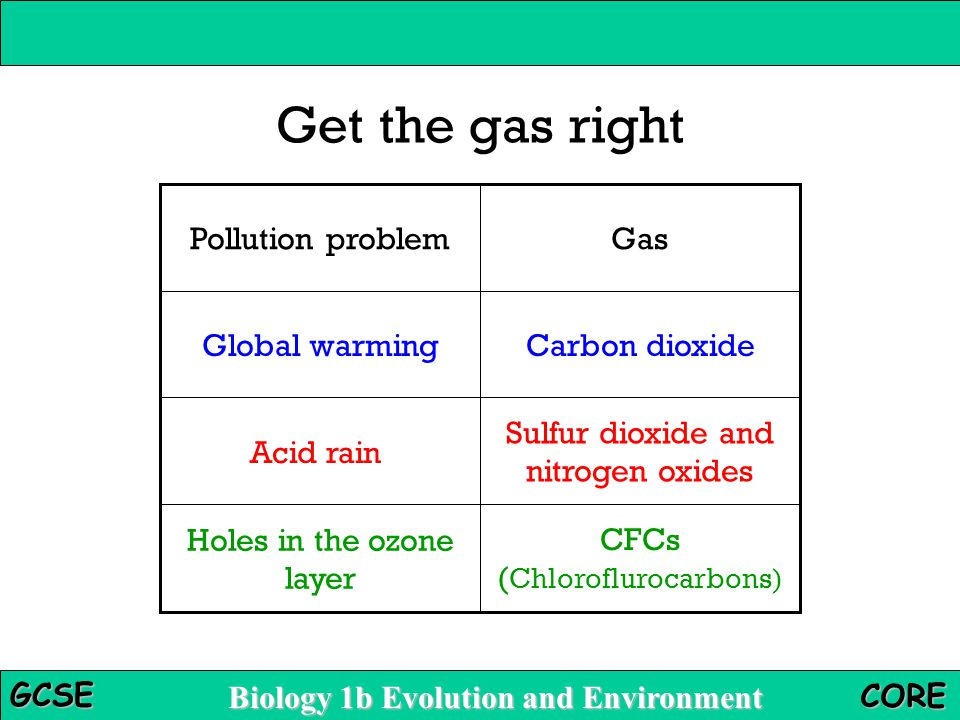 Get the gas right Pollution problem Gas Global warming Carbon dioxide