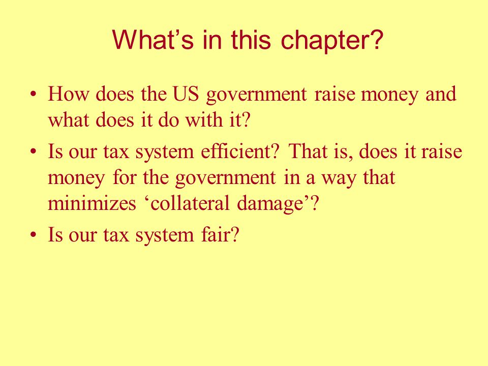 What's in this chapter How does the US government raise money and what does it do with it