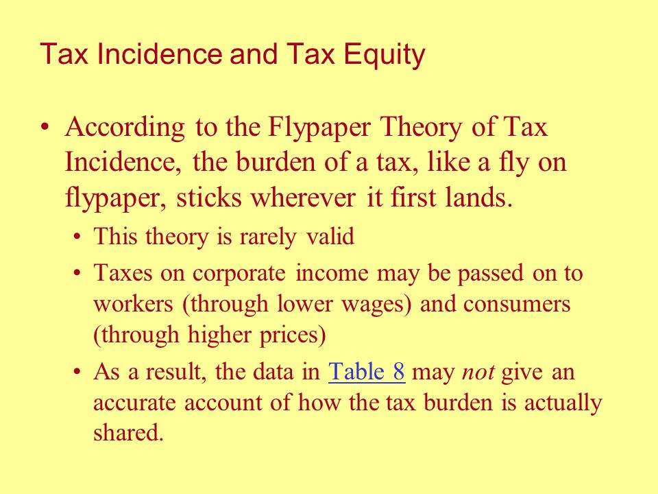 Tax Incidence and Tax Equity