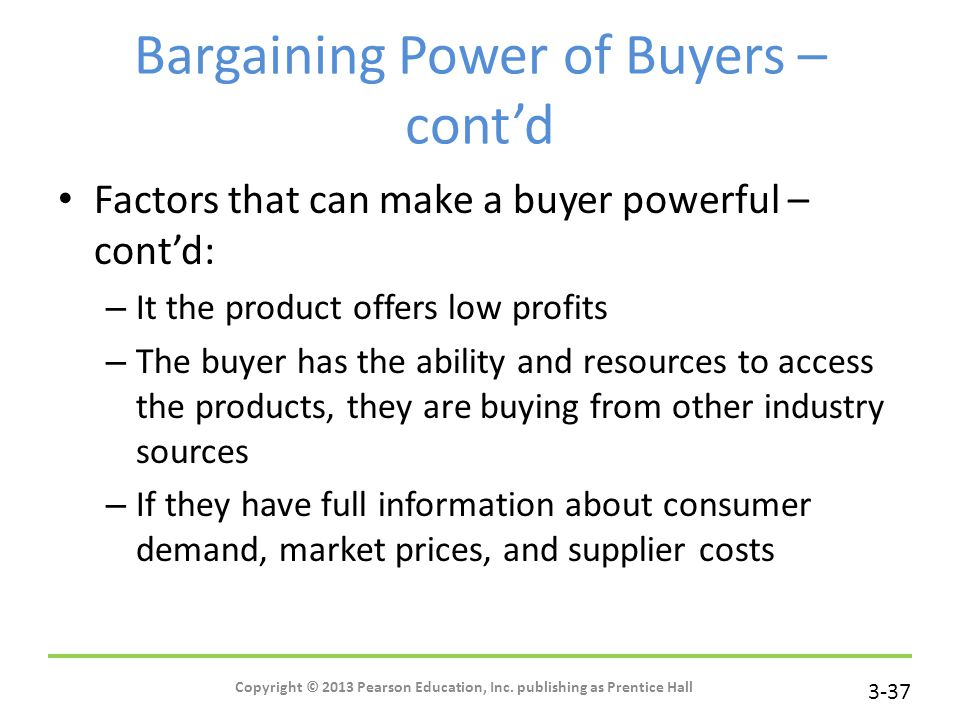 the bargaining power of customers or buyers marketing essay Porter's five forces of buyer bargaining power refers to the pressure consumers can exert on businesses to get them to provide higher quality products, better customer service, and lower prices.