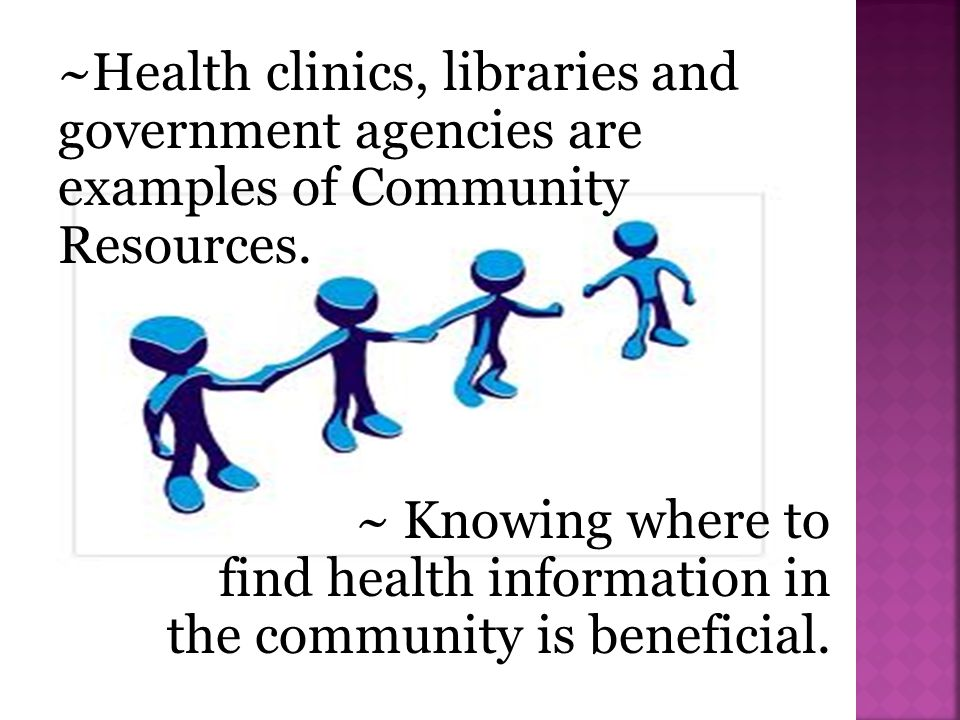 ~Health clinics, libraries and government agencies are examples of Community Resources.