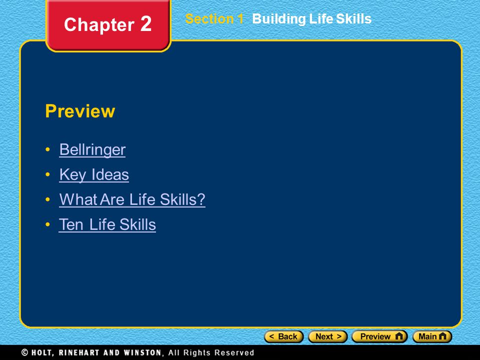 Chapter 2 Preview Bellringer Key Ideas What Are Life Skills
