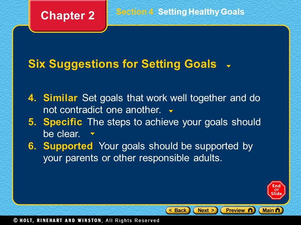 Six Suggestions for Setting Goals