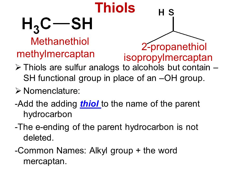 Sulfhydryl Group Examples Alcohols, Pheno...