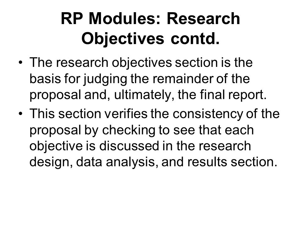 Objectives section of research proposal