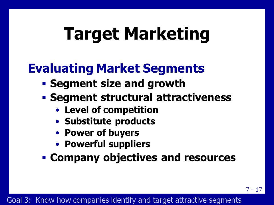 Target Marketing Selecting Target Market Segments
