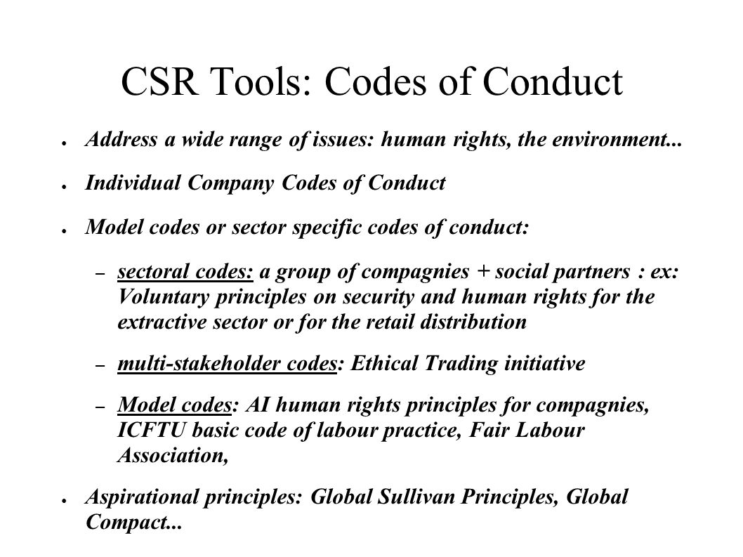 CSR Tools: Codes of Conduct