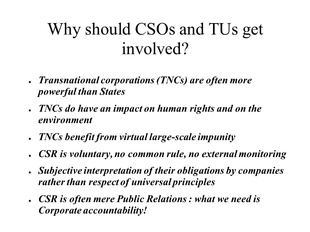 Why should CSOs and TUs get involved