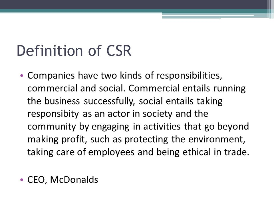 csr mcdonalds Oak brook, ill, apr 30 /csrwire/ - mcdonald's corp today announced its first corporate social responsibility & sustainability framework that is designed to position the company for the future, while generating measurable, positive impacts for society mcdonald's released the framework in.