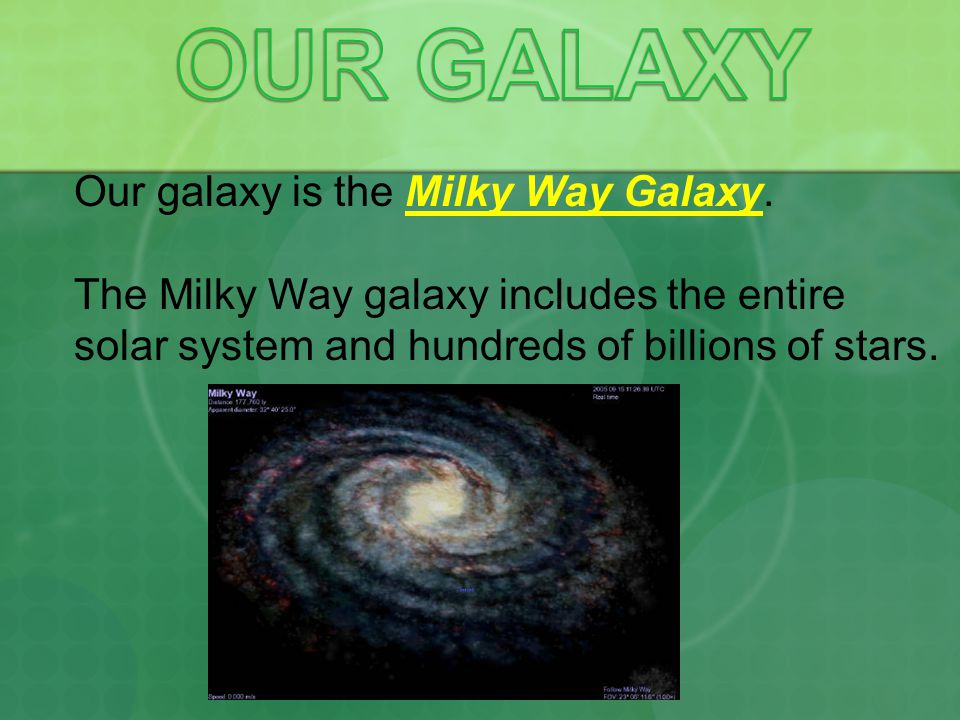 OUR GALAXY Our galaxy is the Milky Way Galaxy.