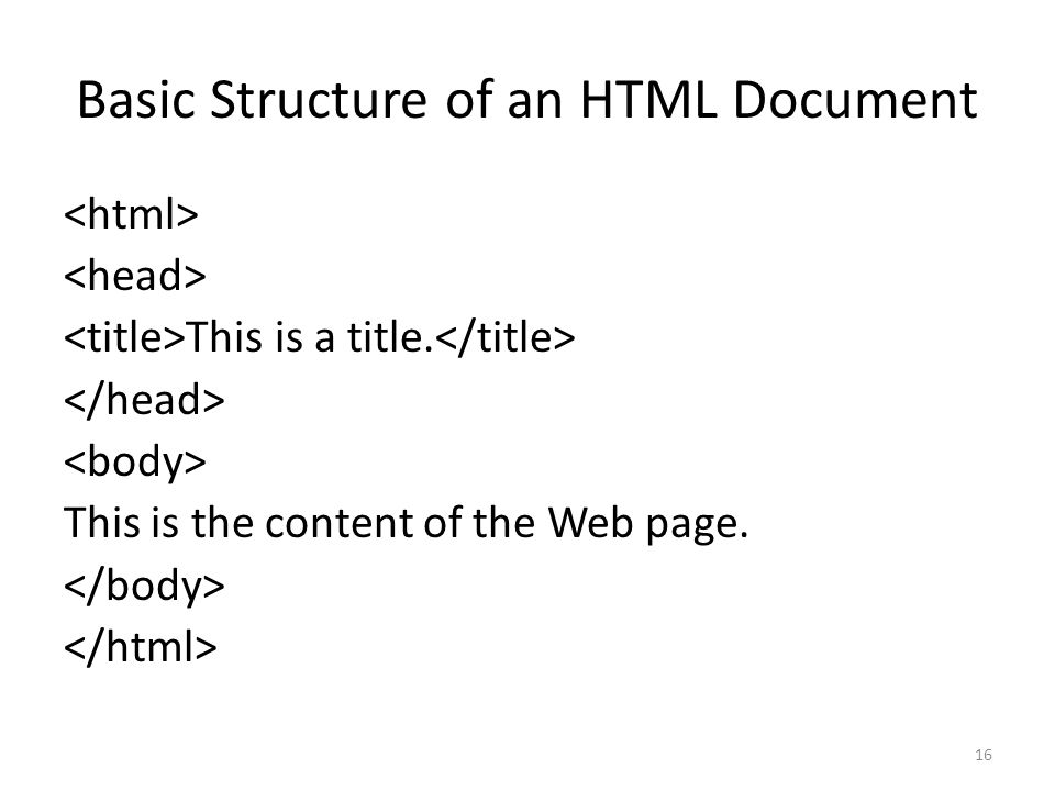 Basic Structure of an HTML Document