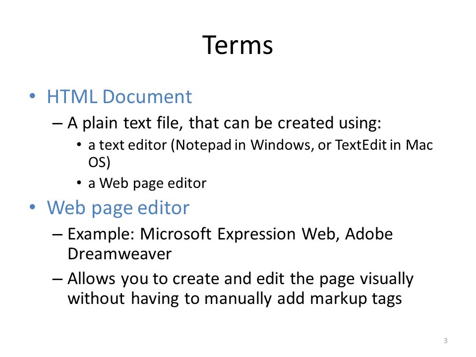 Terms HTML Document Web page editor