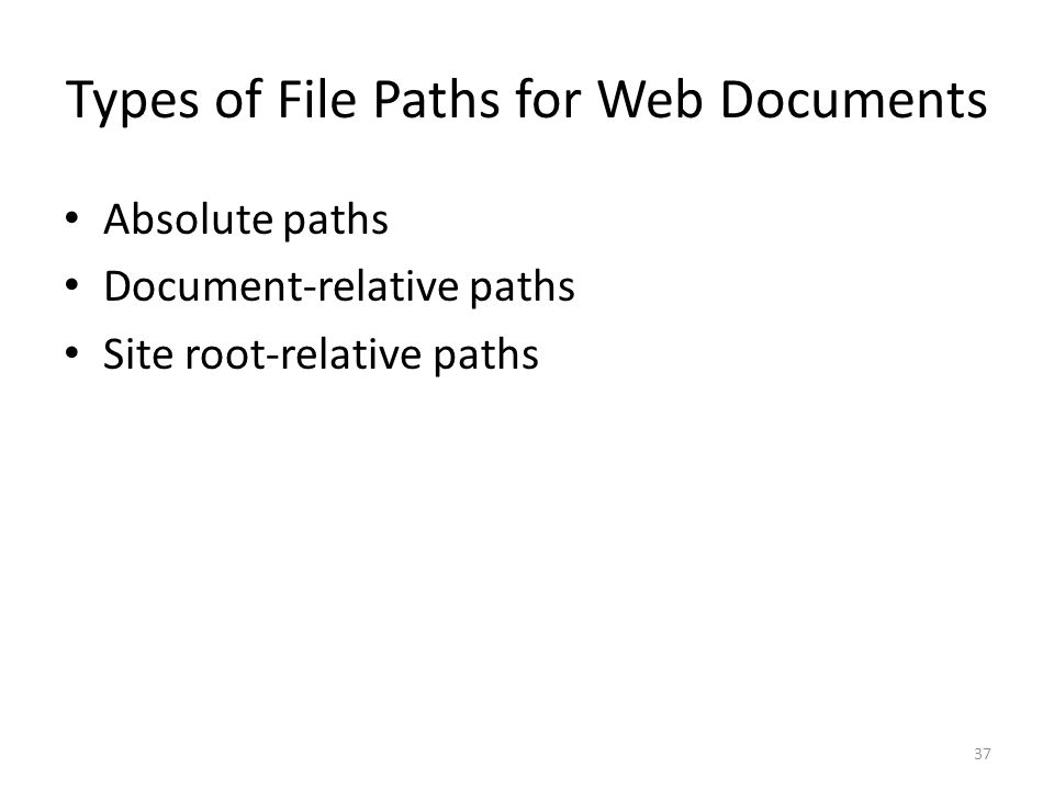 Types of File Paths for Web Documents