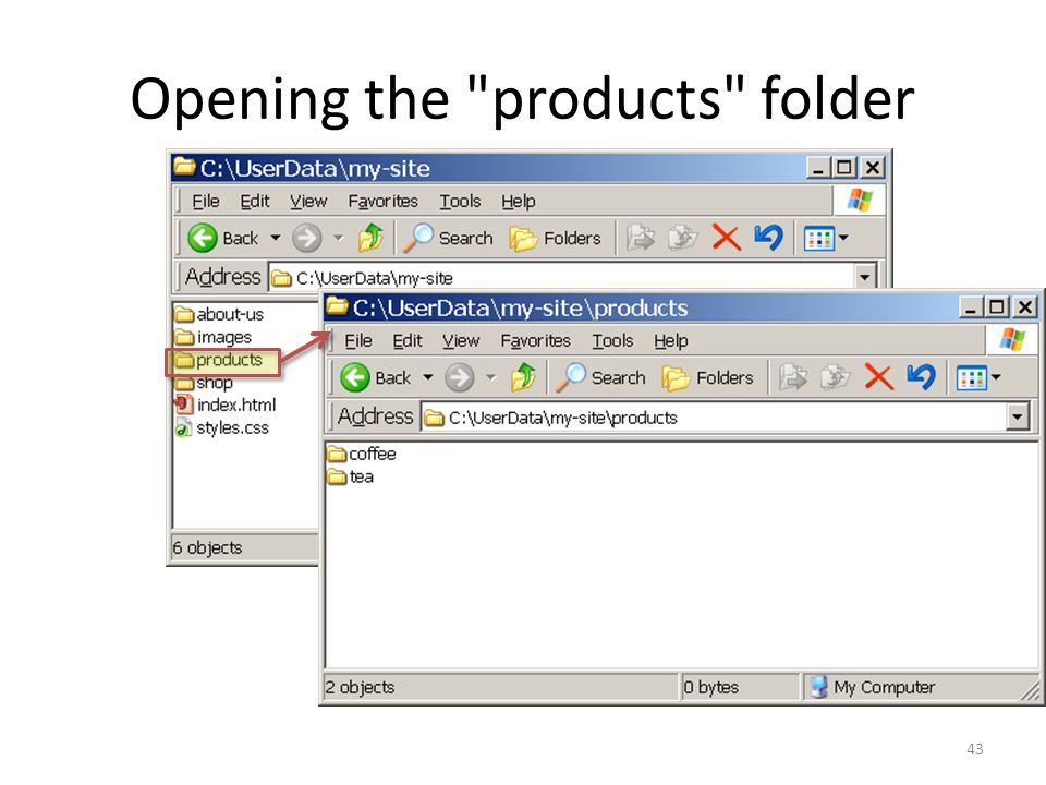 Opening the products folder