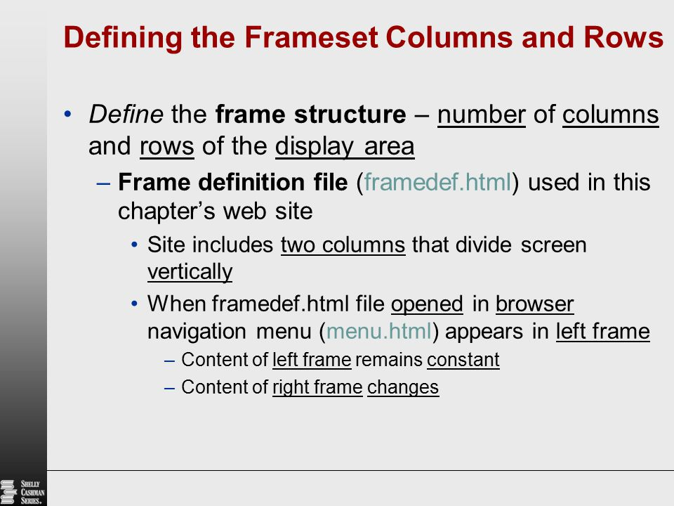 Defining the Frameset Columns and Rows