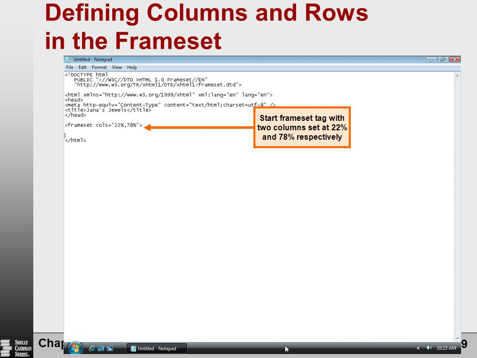 Defining Columns and Rows in the Frameset