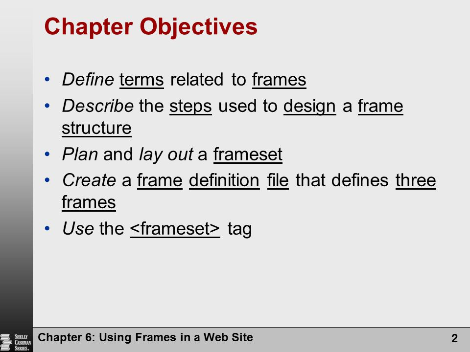 Chapter Objectives Define terms related to frames