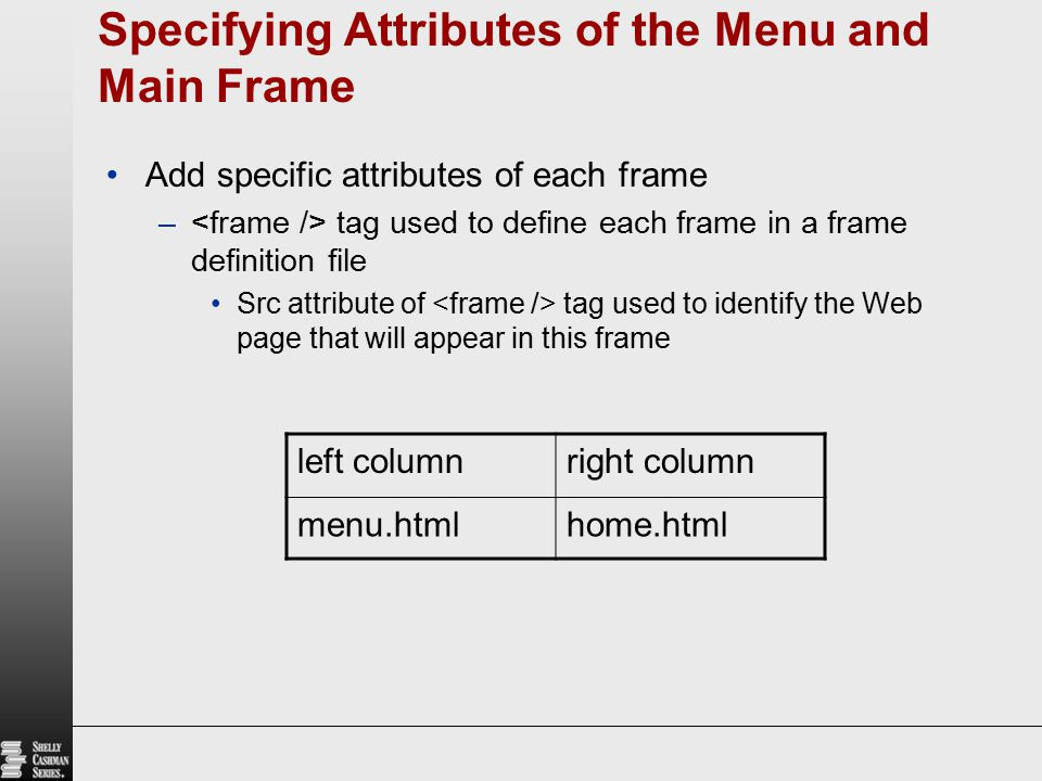 Specifying Attributes of the Menu and Main Frame