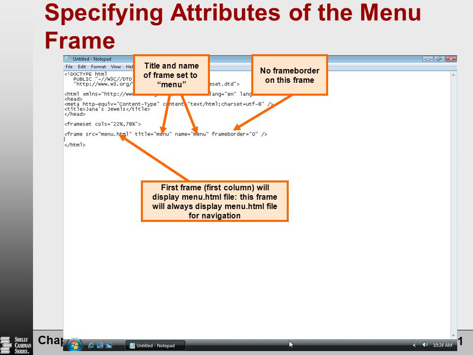 Specifying Attributes of the Menu Frame
