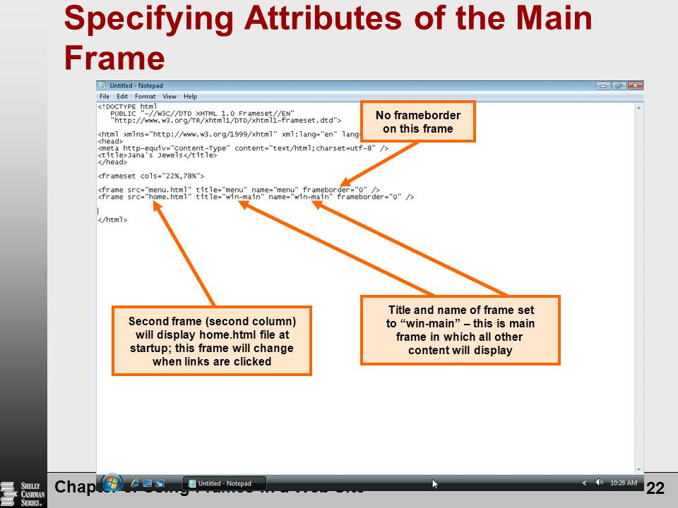 Specifying Attributes of the Main Frame