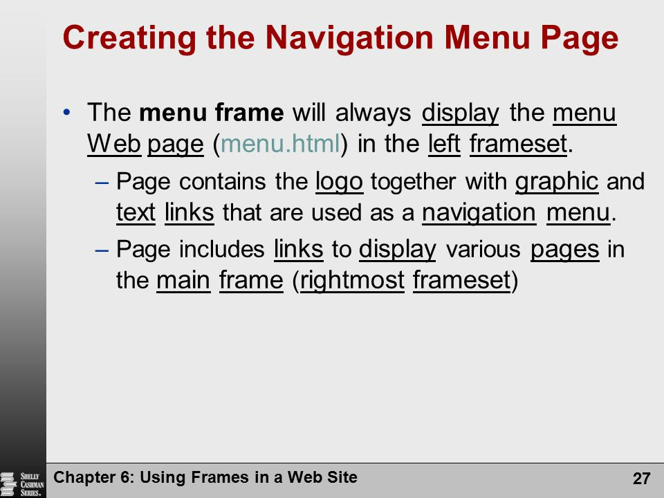 Creating the Navigation Menu Page