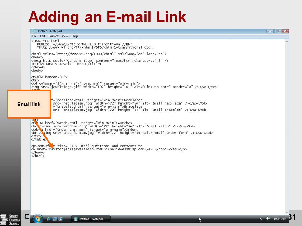 Adding an  Link  link Chapter 6: Using Frames in a Web Site
