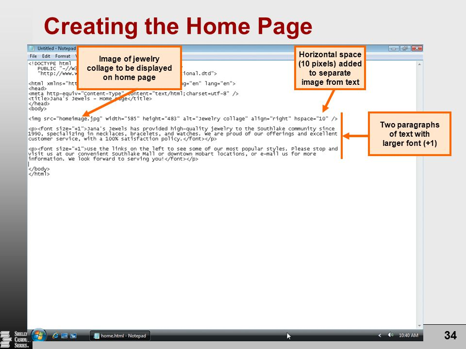 Creating the Home Page Chapter 6: Using Frames in a Web Site