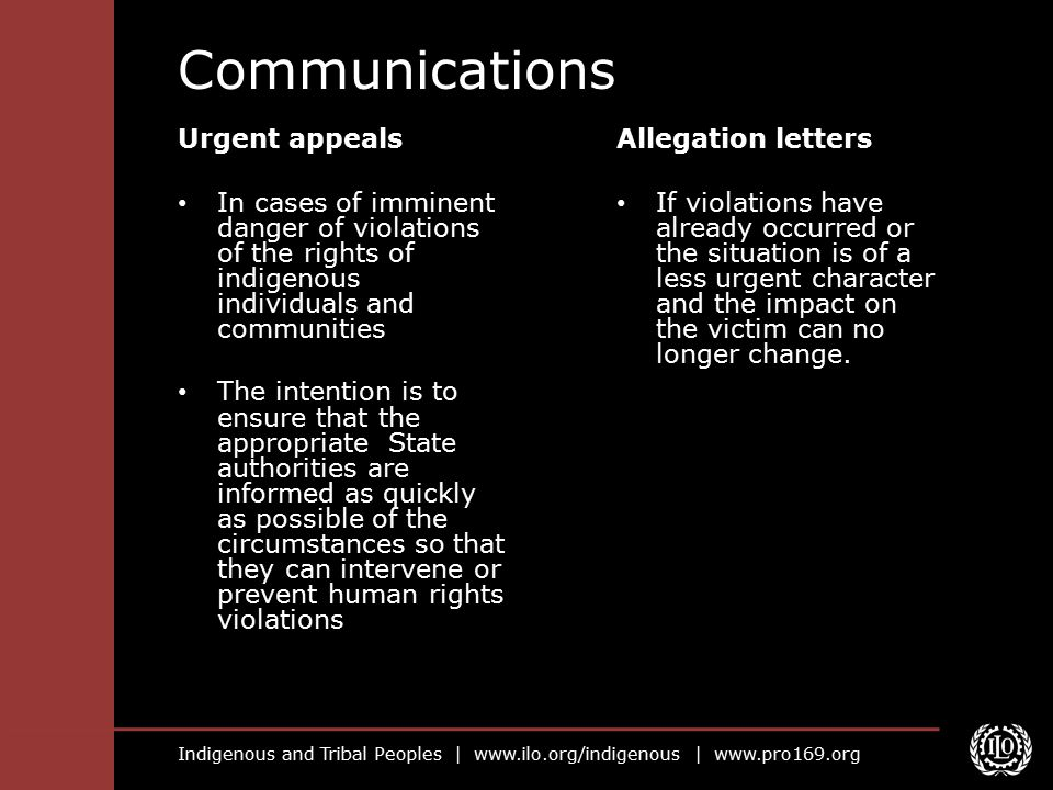 Communications Urgent appeals