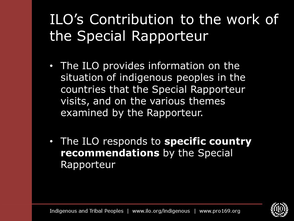 ILO's Contribution to the work of the Special Rapporteur