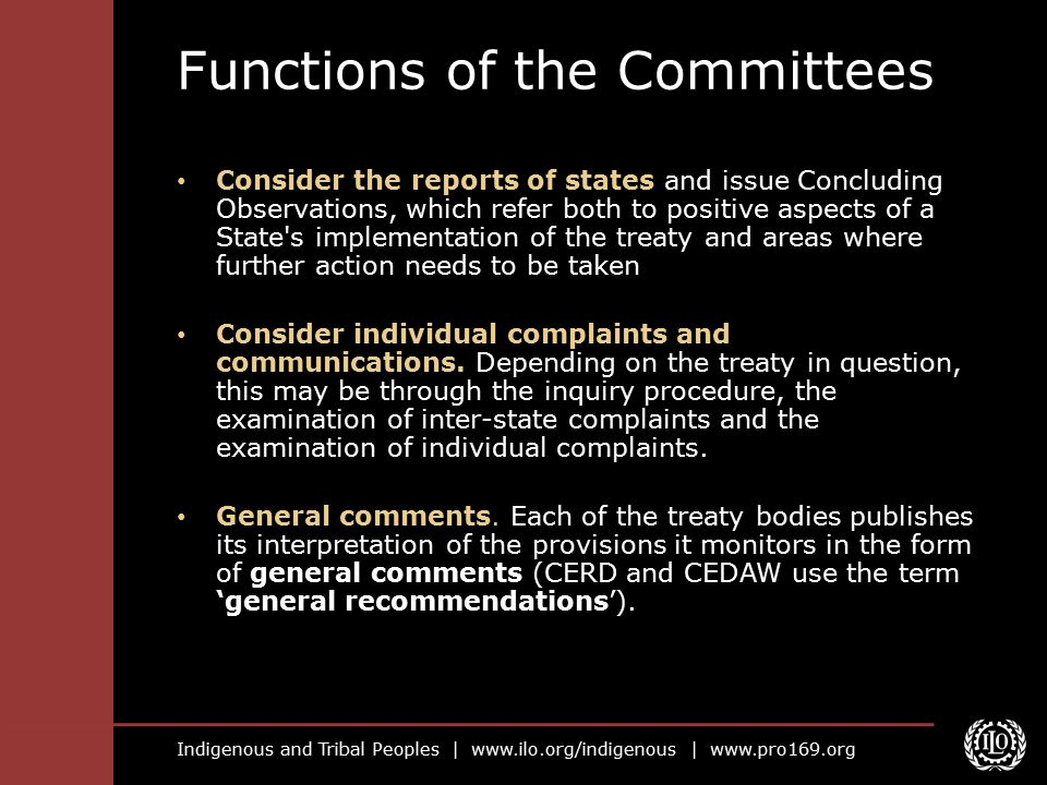 Functions of the Committees