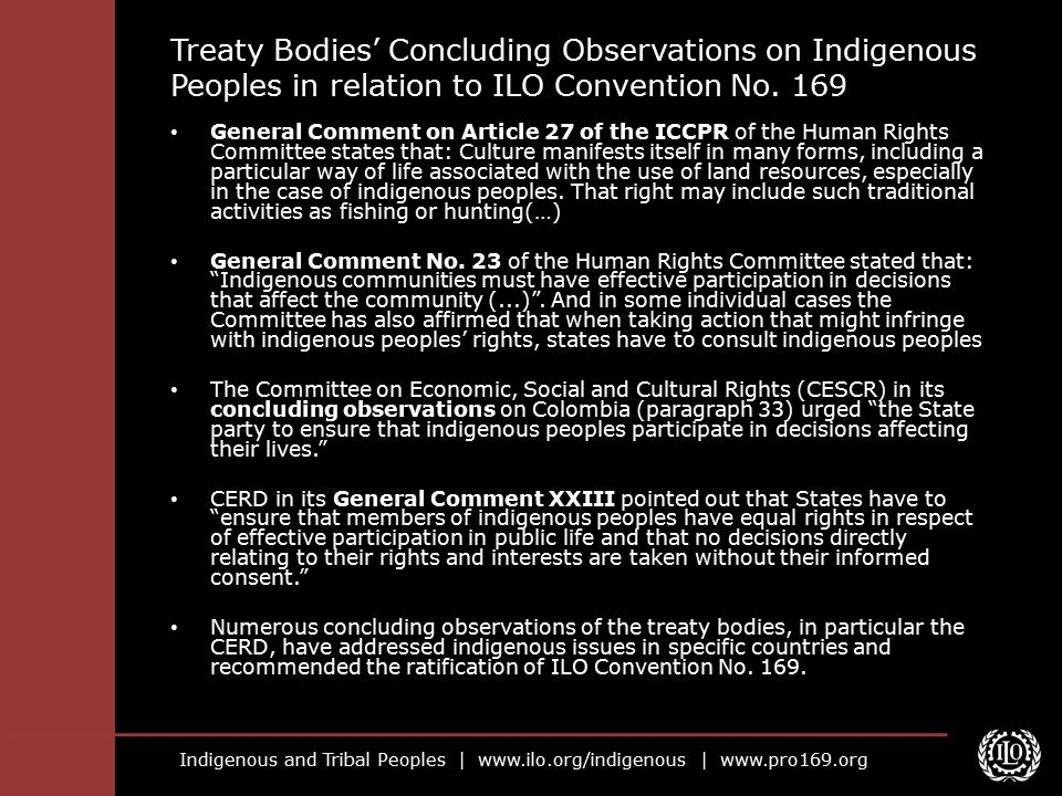 Treaty Bodies' Concluding Observations on Indigenous Peoples in relation to ILO Convention No. 169