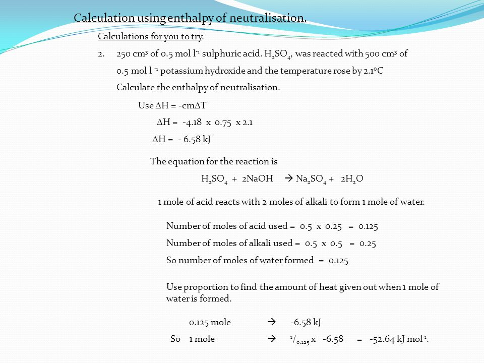 how to find amount of h+ in neutralisation reaction