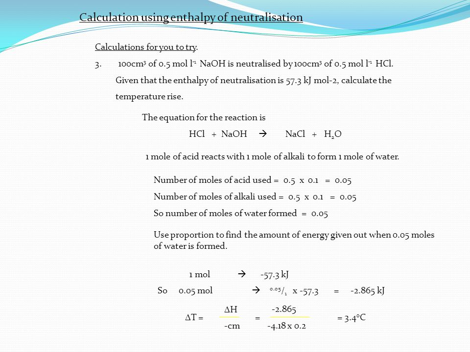 how to calculate enthalpy change of neutralisation