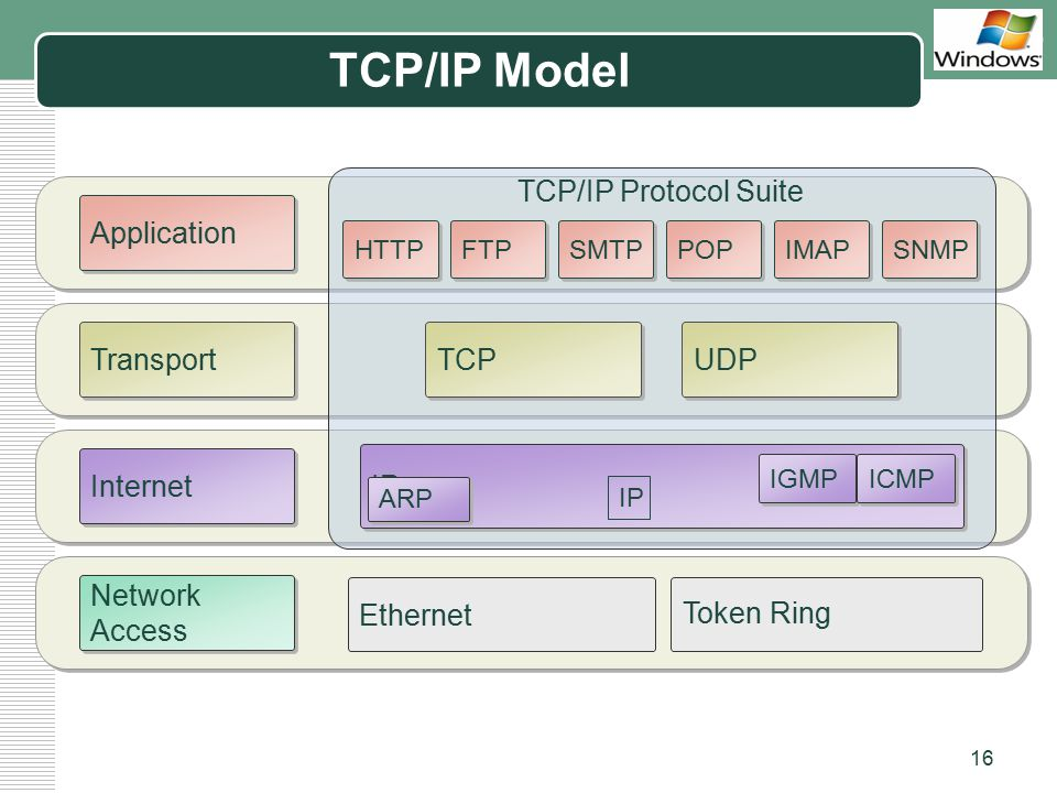 TCP/IP Model Transport Internet Network Access Application Ethernet