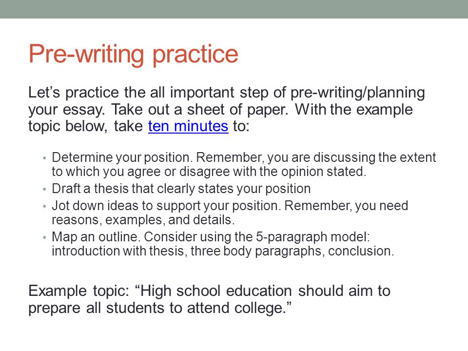 does prewriting affect essay Posing a scenario and looping to provide focus in a cause/effect essay the board that i would be primarily looking for pre-writing that leads the student to a.