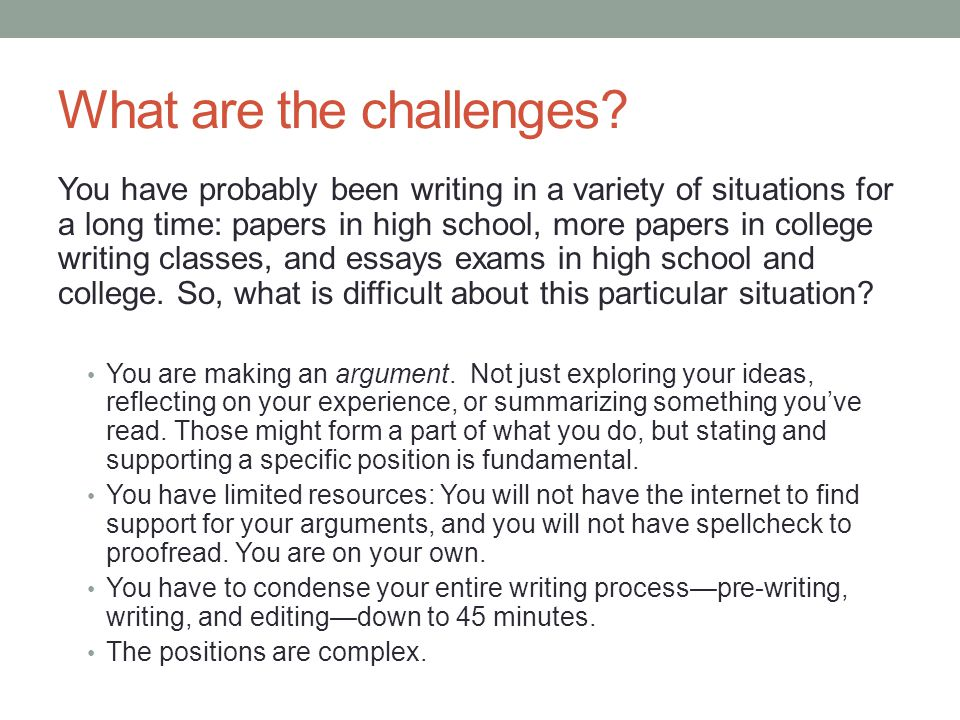 challenge situation essay Essays overcoming challenges you can learn a lot about the result of the challenge in the situation where i had to go into a huge game as a freshman i learn.