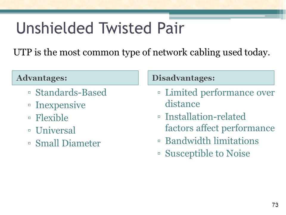 the benefits of twisted pair cable essay All exampleessayscom members take advantage of the following benefits: shielded twisted-pair or unshielded twisted-pair cable essays related to cabling 1.