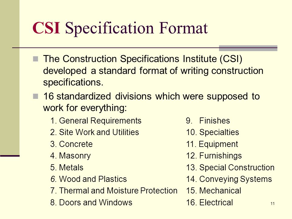 16 divisions of specifications pdf