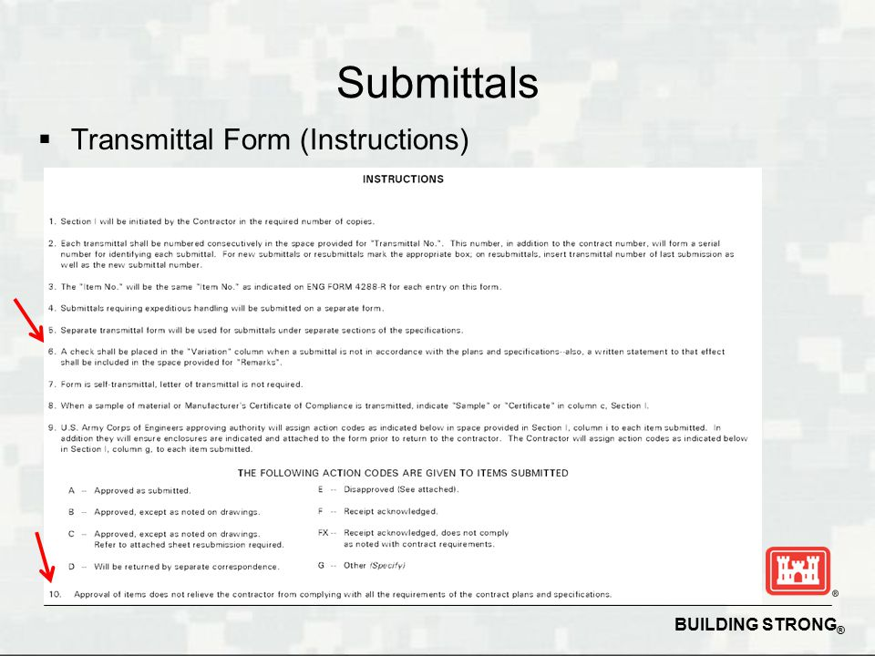 Succeeding on USACE Construction Contracts ppt download – Submittal Transmittal Form