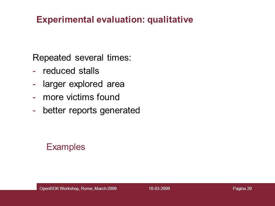 Experimental evaluation: qualitative