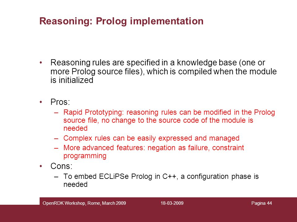 Reasoning: Prolog implementation
