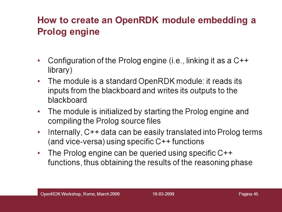 How to create an OpenRDK module embedding a Prolog engine