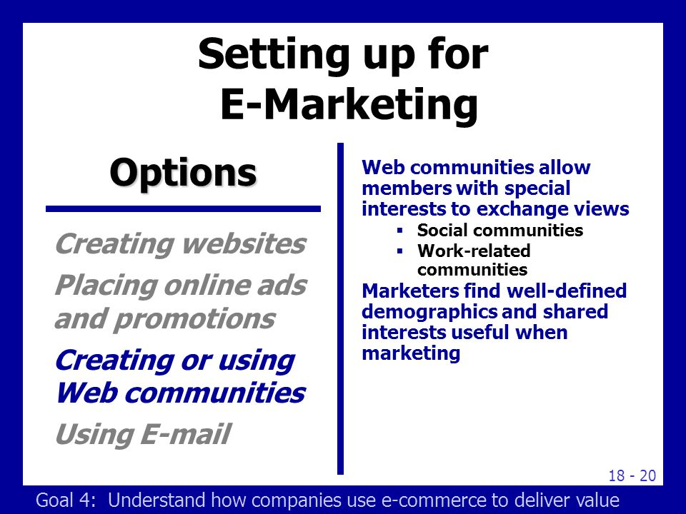 Setting up for E-Marketing